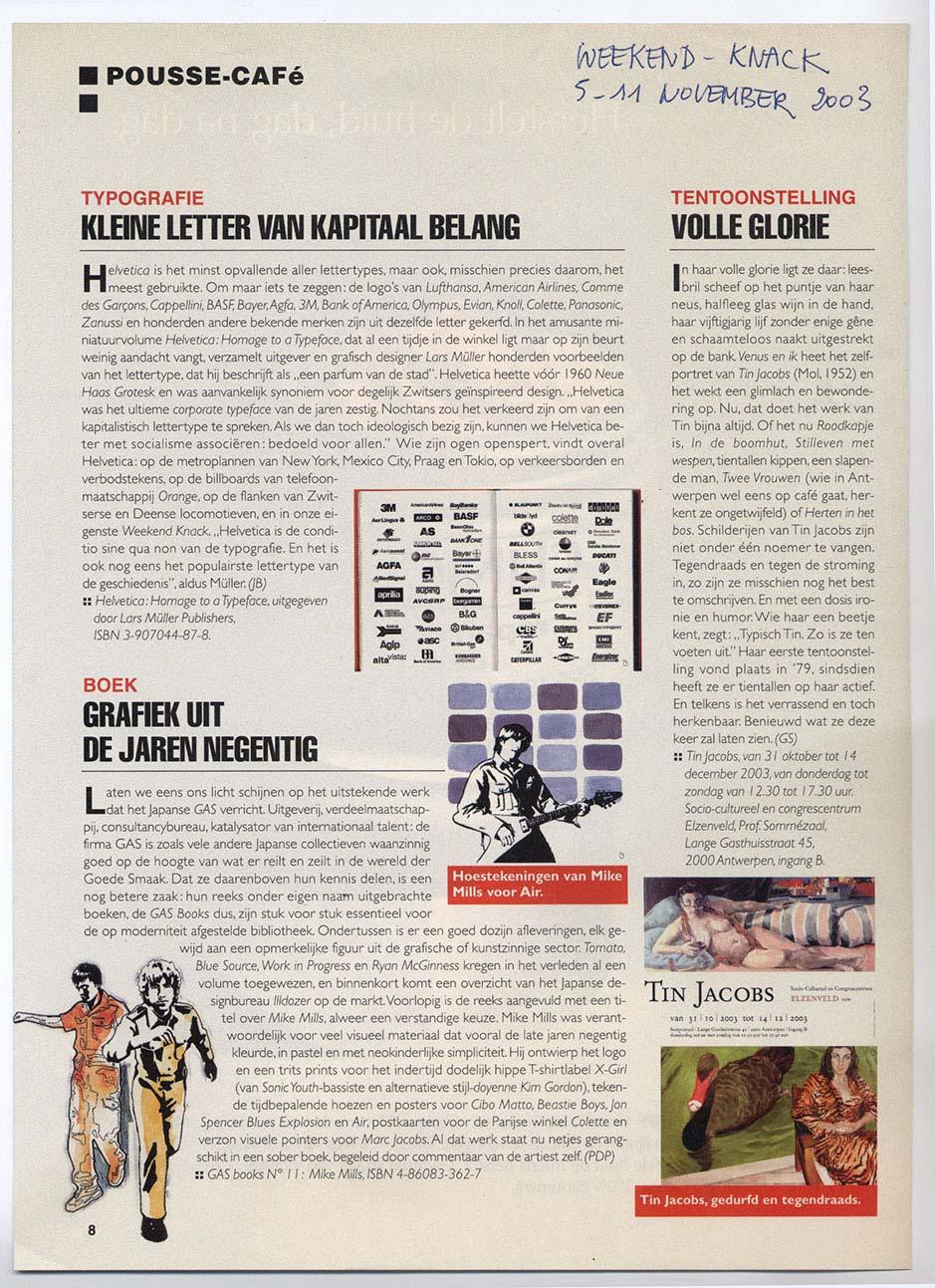 """Magazine, Knack-weekend, 5 November, Pousse-Café, """"Full Glory"""" image"""